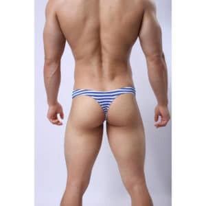 male g-string in blue and white stripe