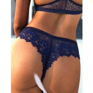 navy cheeky floral lace g-string