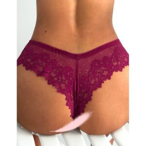 red wine colour cheeky floral lace g-string