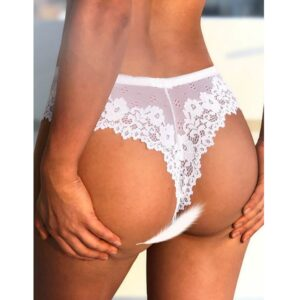 white cheeky floral lace g-string