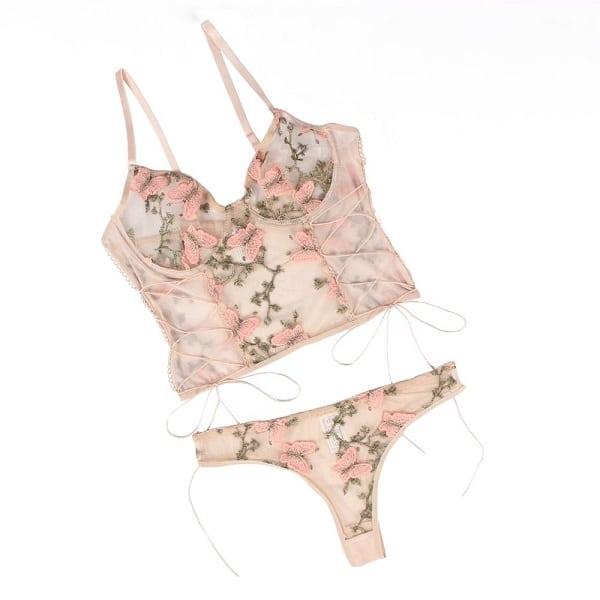 butterfly lingerie bra set